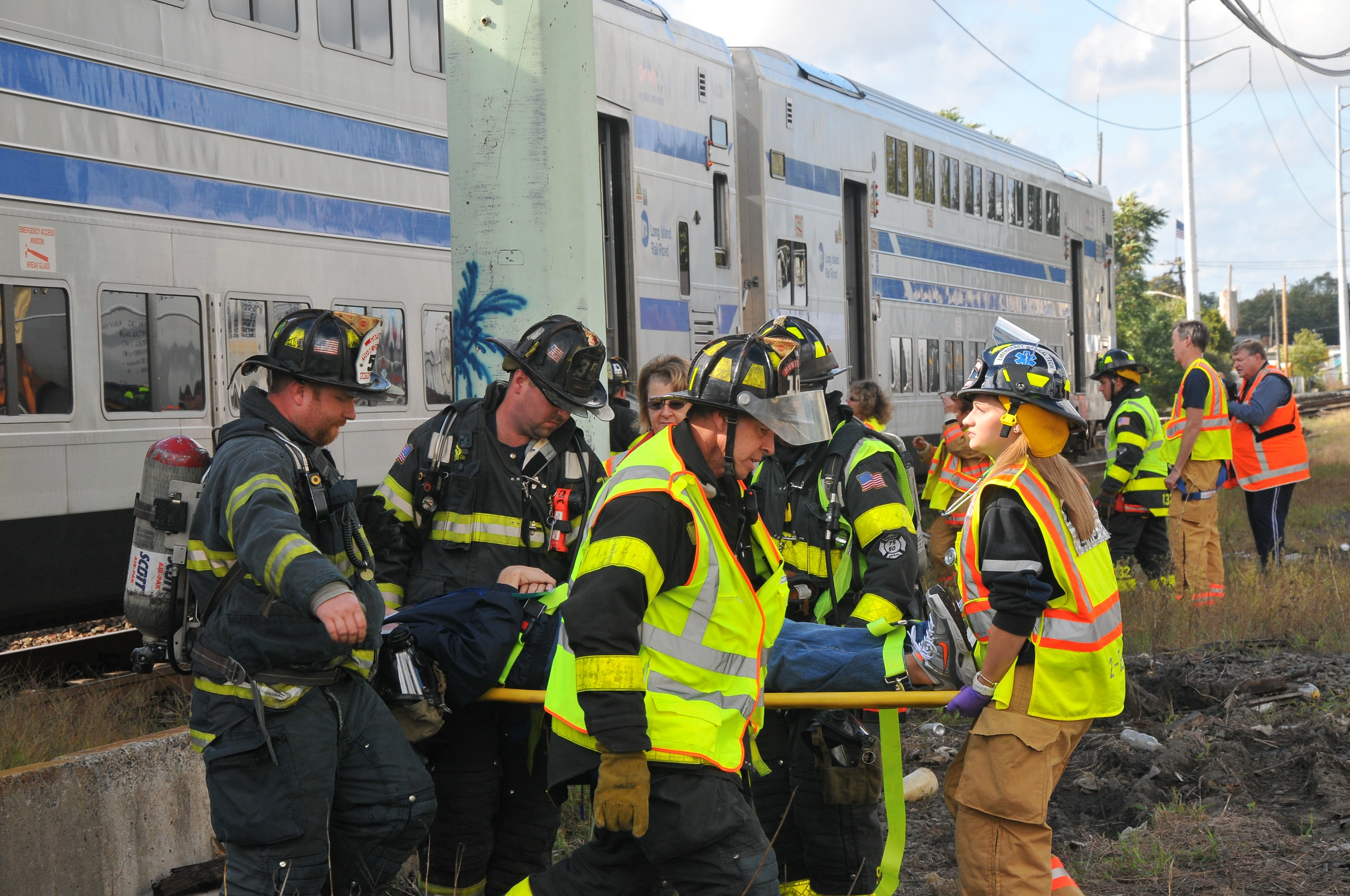 Firefighters Ems Hold Lirr Emergency Response Drill