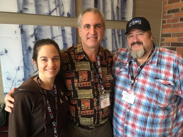 Shawna Caspi and Manitoba Hal with Michael Kornfeld, president of the Folk Music Society of Huntington