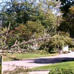 Verizon crew reviews the damage