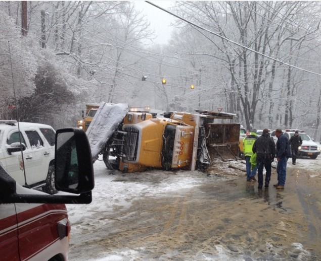 Snowplow Overturned